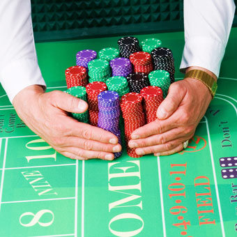 Casino Handling Chips on the table